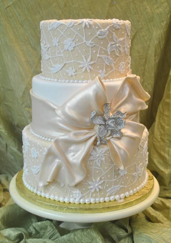 9 Photos of Vs Cream Fondant Wedding Cakes