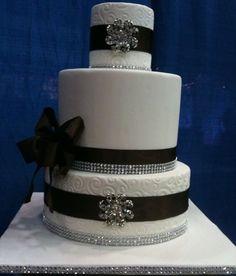 White with Black Rhinestone Cake Ribbon Bling