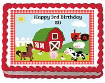 Barnyard Farm Animal Birthday Sheet Cake
