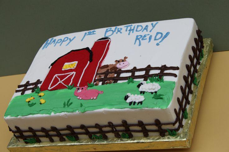 Farm Animal Birthday Sheet Cakes