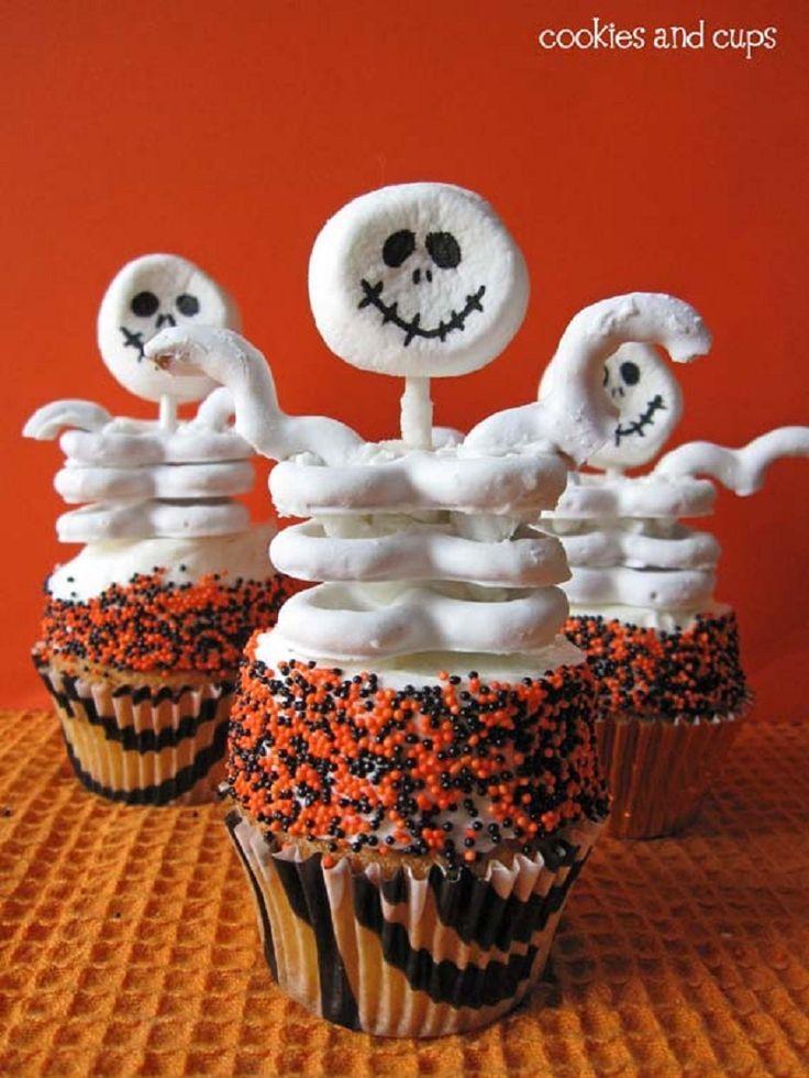 11 Photos of Cute Halloween Skeleton Cupcakes