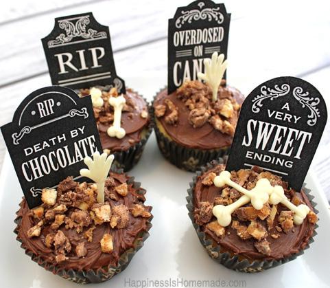 6 Photos of Tomb Halloween Chocolate Cupcakes
