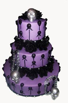 Purple Halloween Wedding Cake