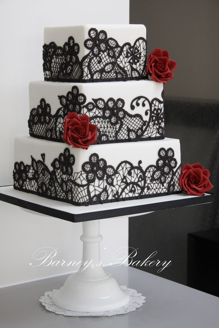Square Wedding Cake Red Black and White