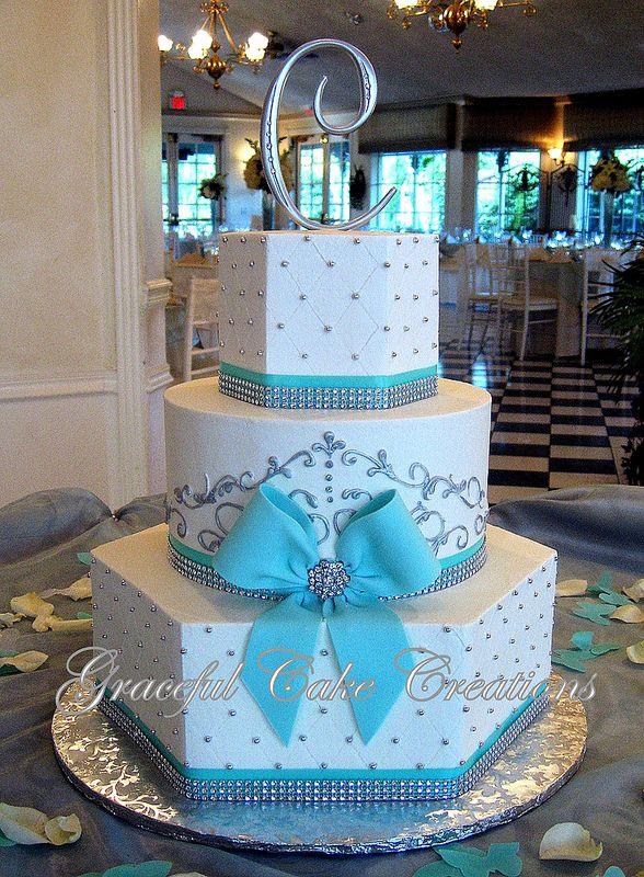 Tiffany Blue and White Elegant Wedding Cake with Bling