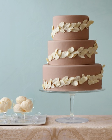 Wedding Cake with Chocolate Leaves