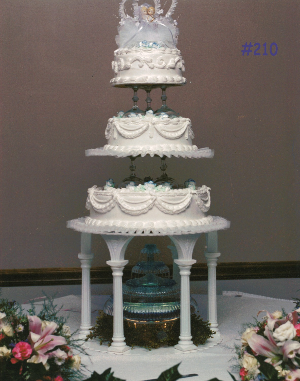 3 Tier Wedding Cake with Fountain