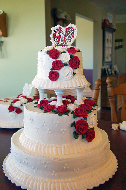 40th Anniversary Cake with Red Roses