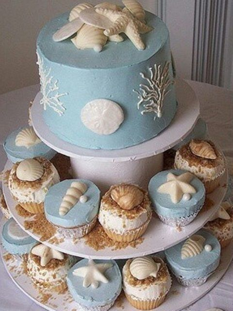 Beach Theme Cupcake Wedding Cake