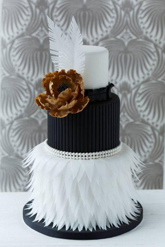 Black and White Gold Unique Wedding Cake
