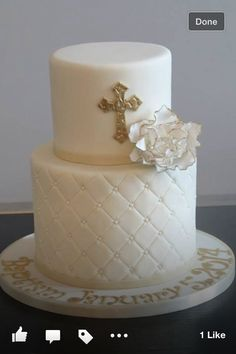Blue and Gold Baptism Cake