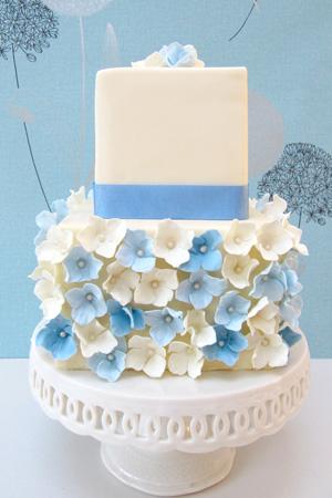 Blue Hydrangea White Wedding Cake