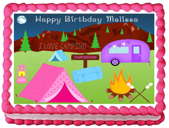 Camping Sheet Cake Decorations