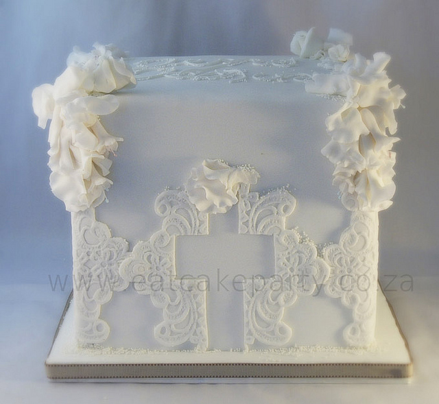 10 Photos of Square Christening Cakes