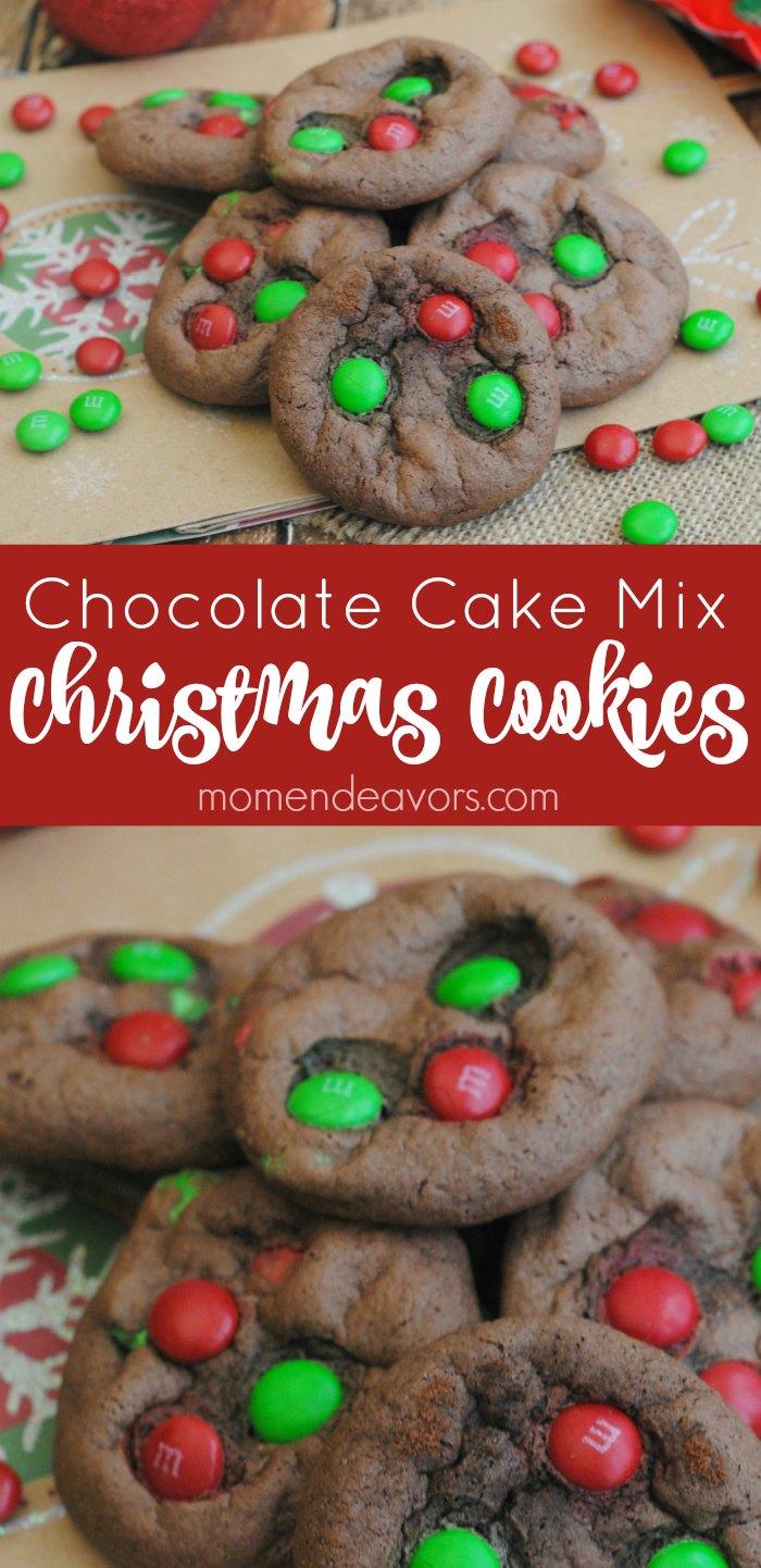 Christmas Chocolate Cake Mix Cookies