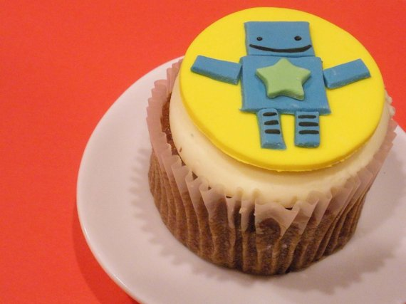 Cupcake Toppers Fondant Robots