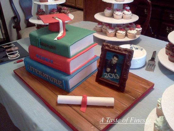 Fondant Graduation Book Cake