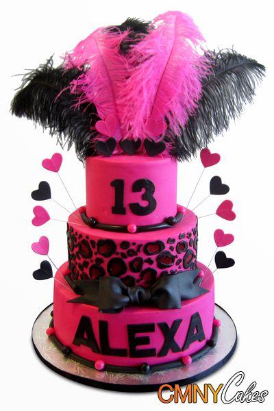 Fuschia and Black Birthday Cake