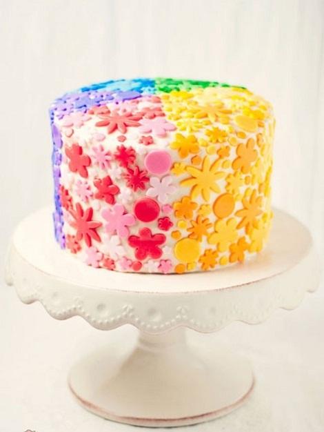 10 Rainbow Birthday Cakes With Flowers Photo Rainbow Flower