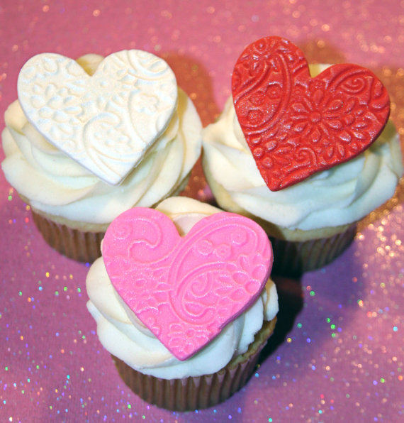 Hearts Fondant Cupcake Toppers