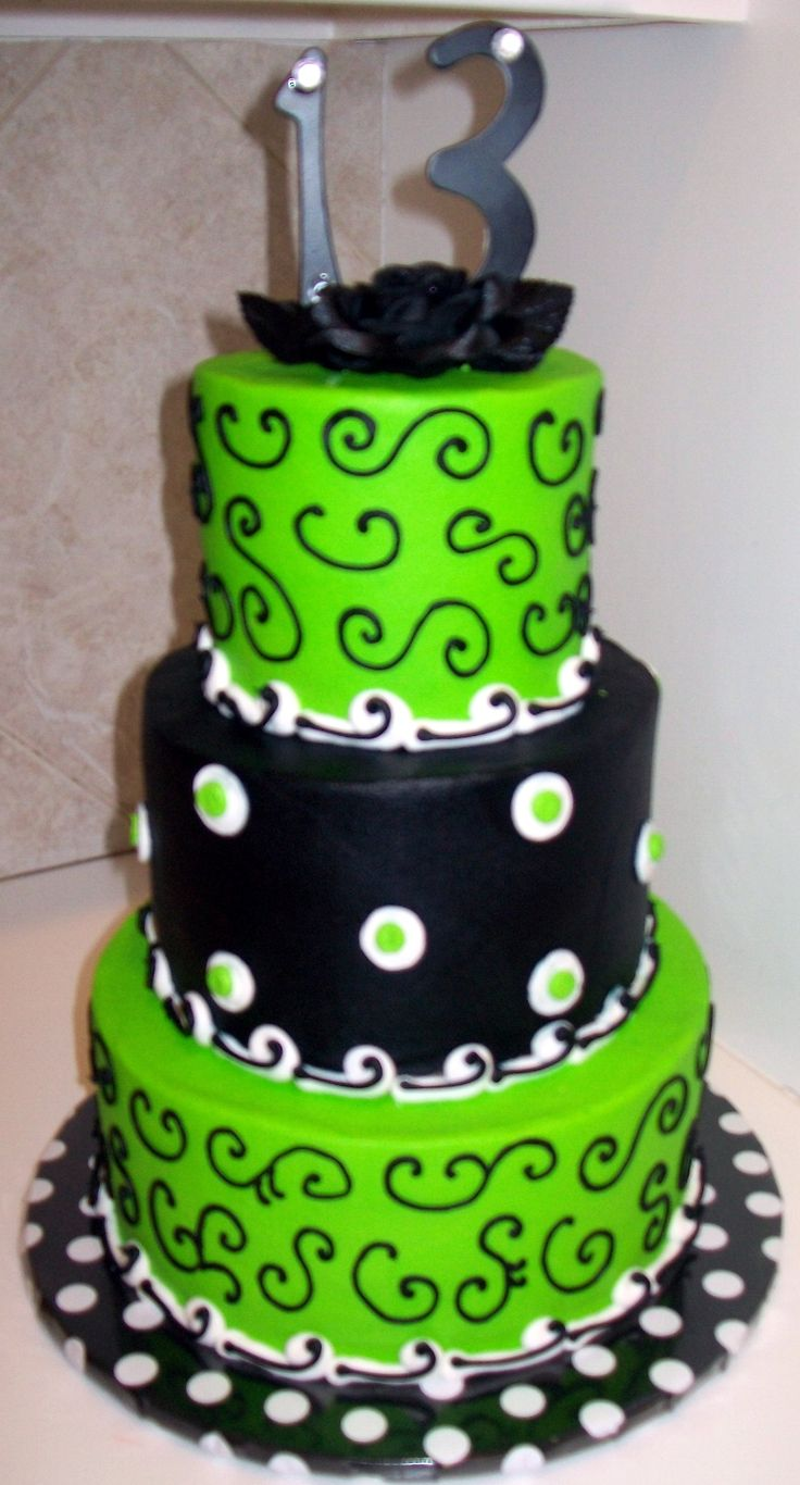 Lime Green And Black Birthday Cake