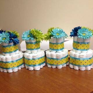 Mini Diaper Cake Centerpieces