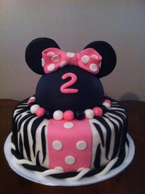 Minnie Mouse and Zebra Cake