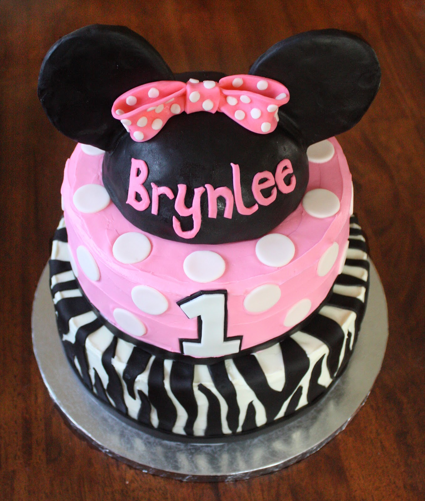 Minnie Mouse Zebra Birthday Cake