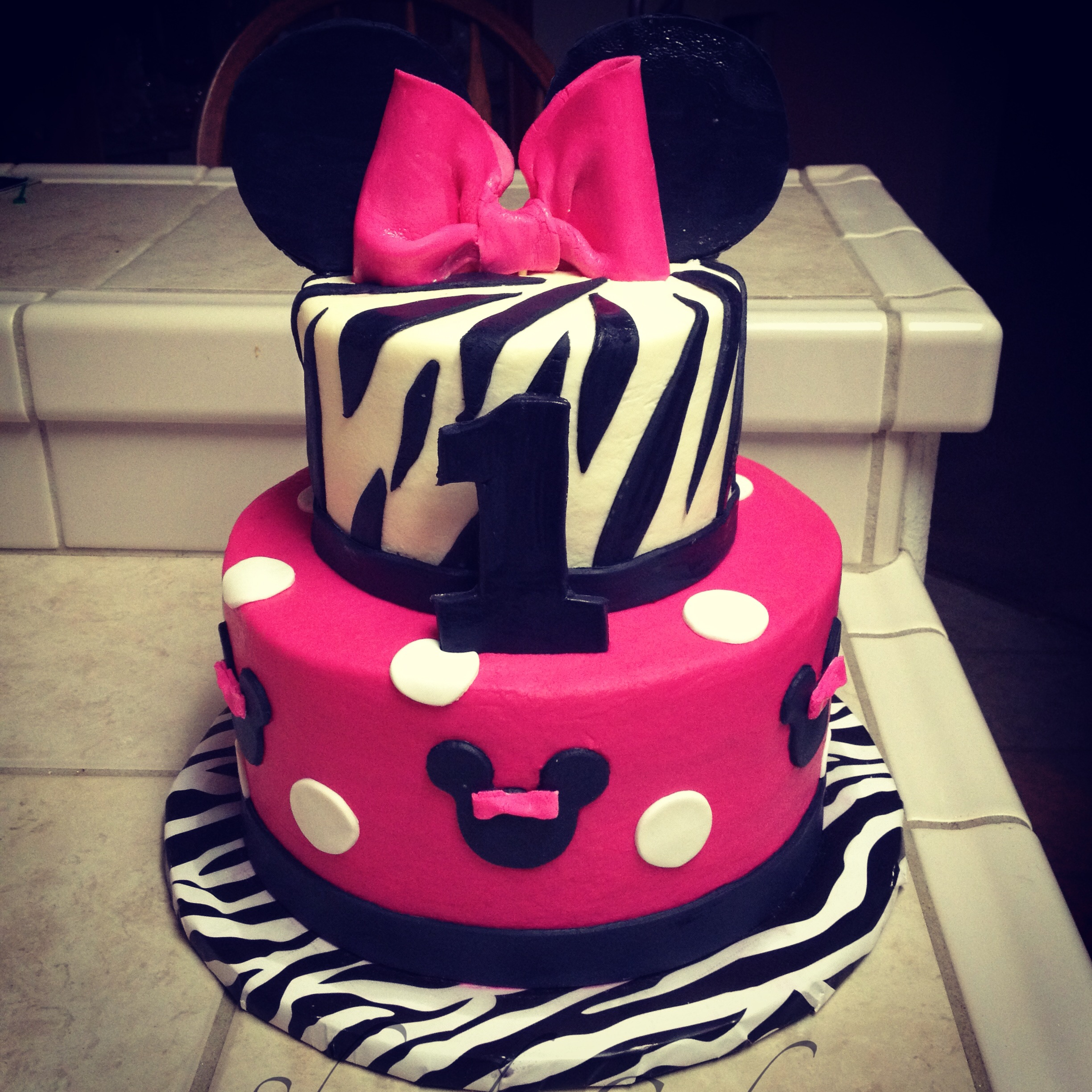 Minnie Mouse Zebra Print Birthday Cake