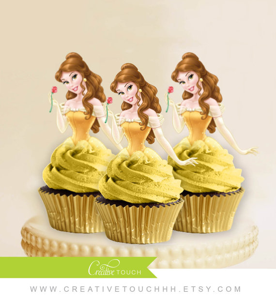 Princess Belle Cupcake Toppers