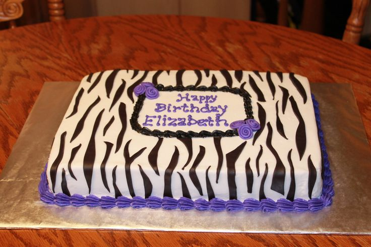 Purple and Zebra Sheet Cake