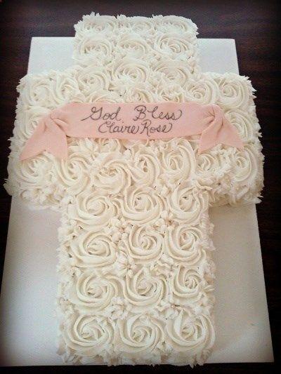 Rose Cake Baptism Cross