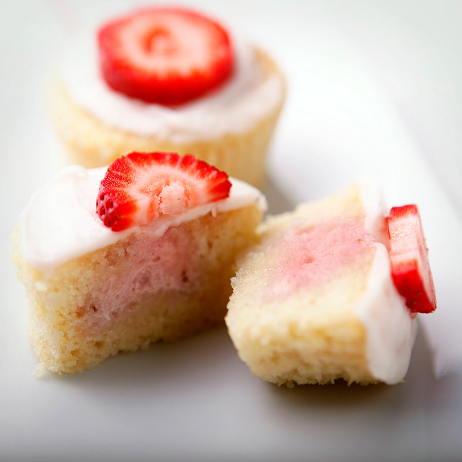 Strawberry Filled Cupcakes with Cake Mix