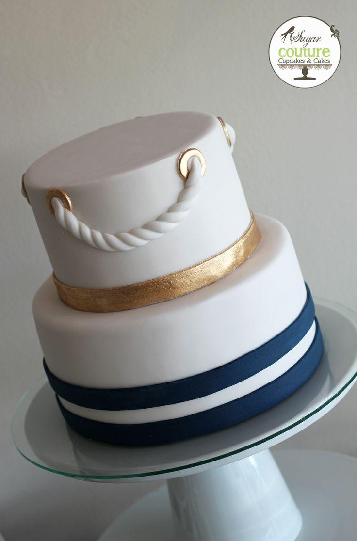 Wedding Cake Gold Navy and White
