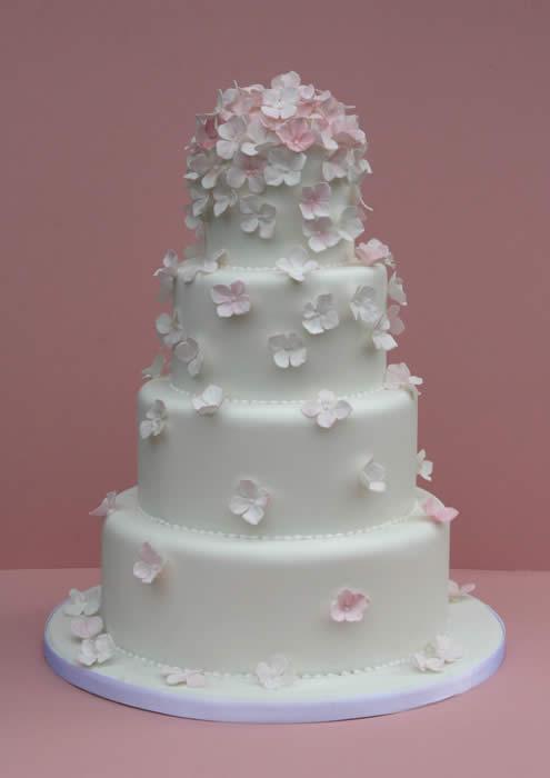Wedding Cake with Hydrangea Flowers