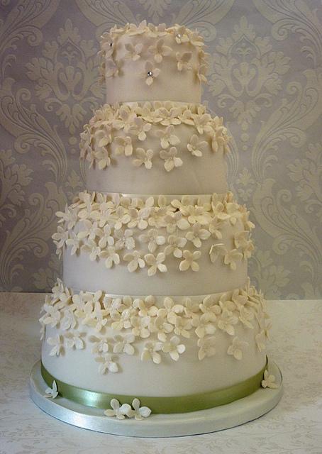 Wedding Cake with Hydrangeas