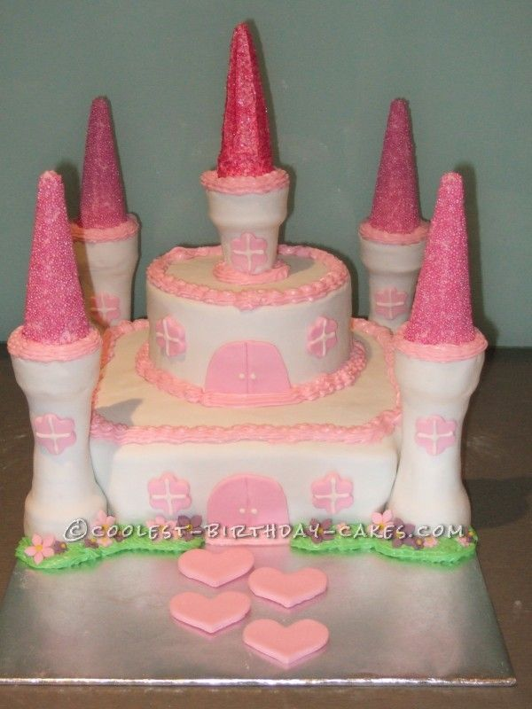 White and Pink Castle Cake