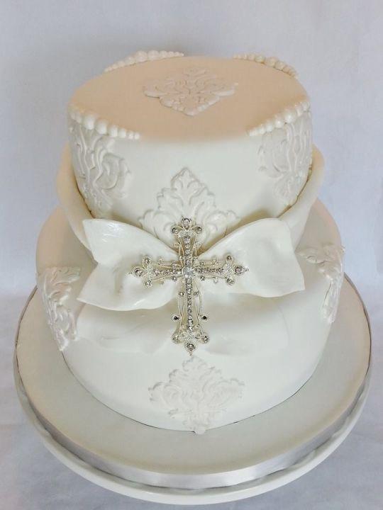 White Baptism Cake