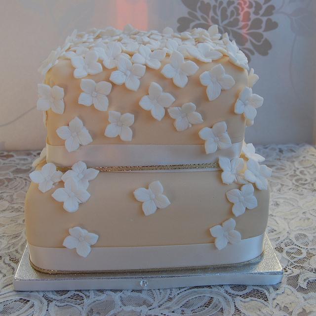 White Hydrangeas with Ivory Wedding Cake