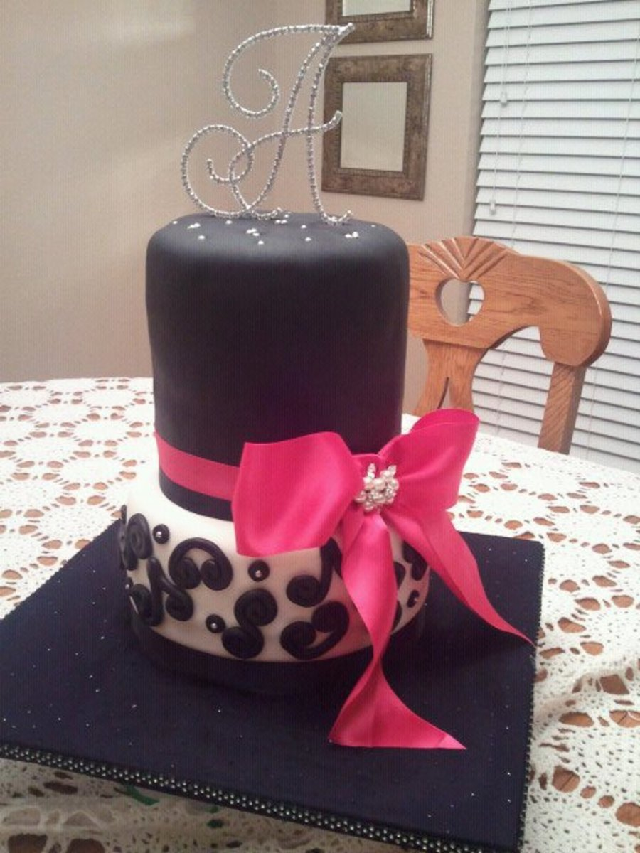 Bridal Shower Cake Pink Black and White