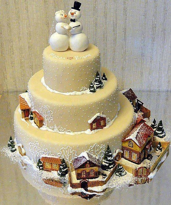 Christmas Theme Wedding Cake