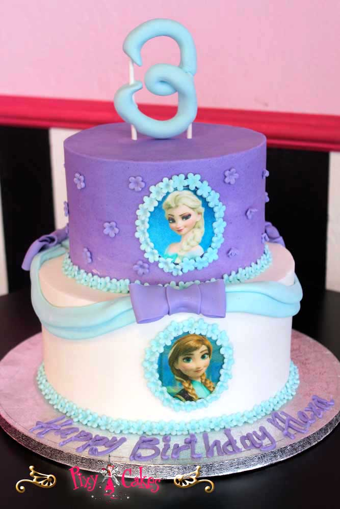 Frozen Blue and Purple Birthday Cakes