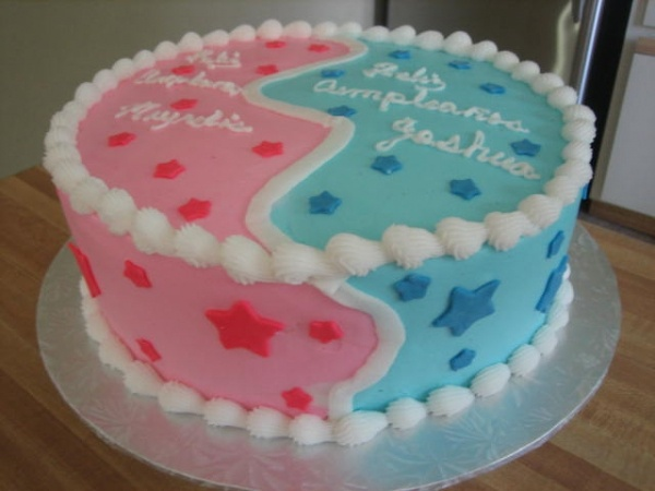 Gender Reveal Cake For Twin Boy And Girl