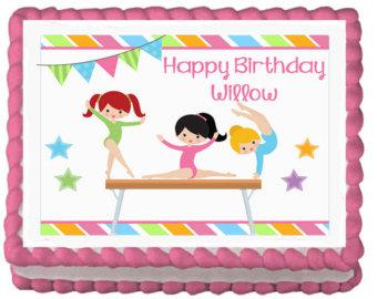 Gymnastics Birthday Party Cake Topper