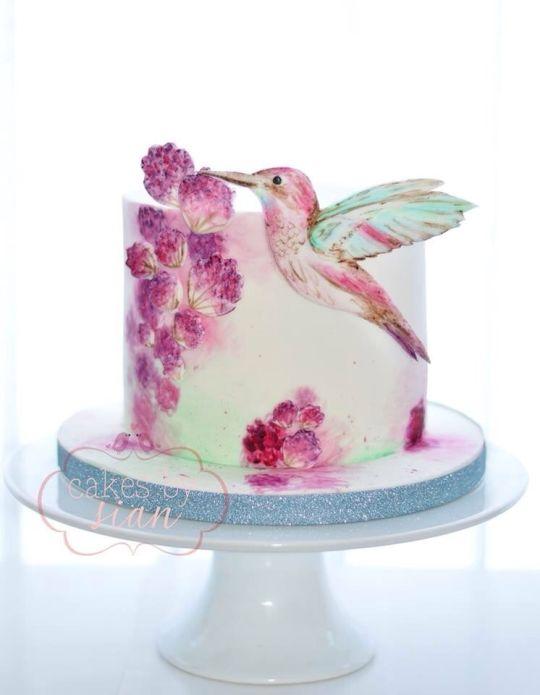 9 Photos of Hummingbird Hand Painted Cakes