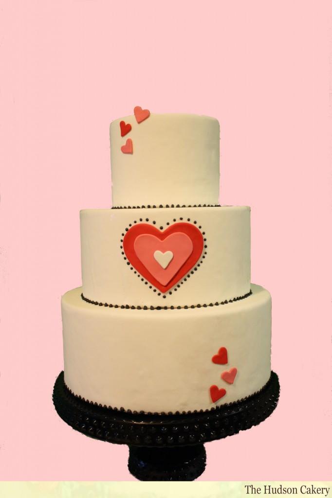 Heart Themed Wedding Cake