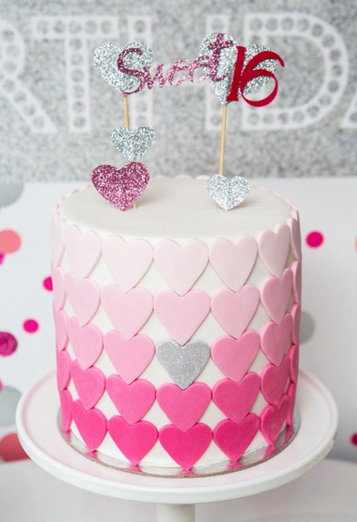 Hearts Cake Sweet 16