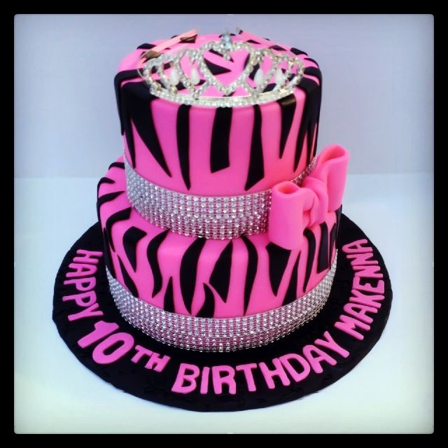 Hot Pink and Zebra Birthday Cakes