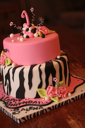 Hot Pink and Zebra Print Cake