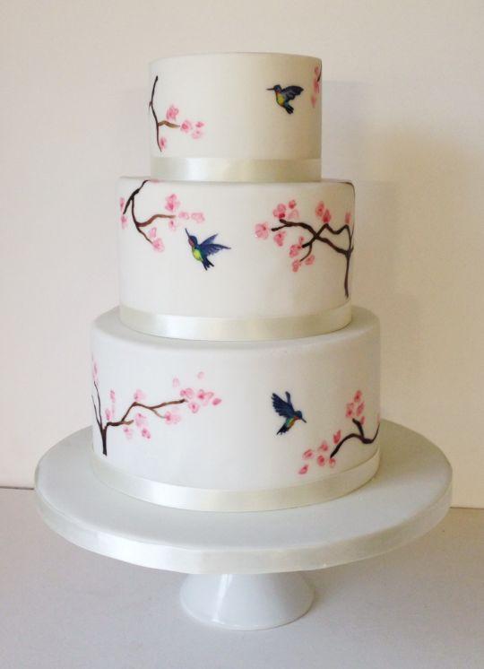 Hummingbird Cherry Blossom Cakes